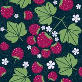 Raspberry seamless pattern. Raspberries with leaves and flowers on shabby background. Original simple flat illustration. Shabby style vector illustration
