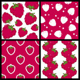 Raspberry Seamless Patterns Set Royalty Free Stock Images
