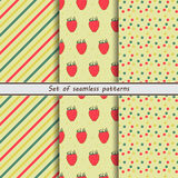 Raspberry, set of seamless patterns, Stock Images