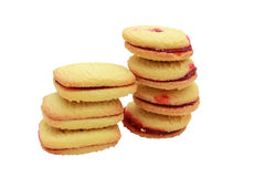 Raspberry shortbread biscuits Stock Photos