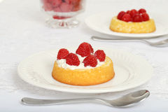 Raspberry shortcake with a spoon Royalty Free Stock Images