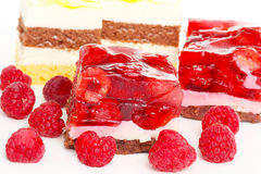 Raspberry slice, cream pies Stock Images