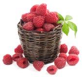 Raspberry. Small  basket with fresh raspberries   on white Stock Photos