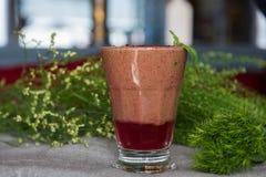 Raspberry smoothie with basil. Raspberry fresh smoothie with basil Stock Photo