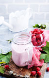 Raspberry Smoothie. In glass bank – stock image Royalty Free Stock Photography