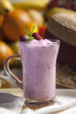 Raspberry smoothie in a glass. Royalty Free Stock Photos