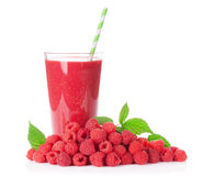 Raspberry smoothie and heap of berries Stock Photo