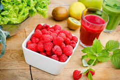 Raspberry and smoothie (juice) of raspberry Royalty Free Stock Image