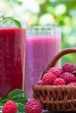 Raspberry smoothie  milkshake. Fresh raspberry smoothie and raspberry milkshake Royalty Free Stock Photo