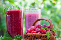 Raspberry smoothie and milkshake Royalty Free Stock Images