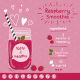Raspberry smoothie recipe. With illustration of ingredients and vitamin. Doodle style Royalty Free Stock Images