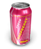 Raspberry soda drink in metal can Stock Photos