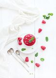 Raspberry sorbet ice-cream with mint leaves  and. Spoons on white background, selective focus Royalty Free Stock Image