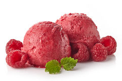 Raspberry sorbet. Two raspberry ice cream sorbet balls isolated on white background Royalty Free Stock Photo