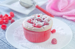 Raspberry souffle royalty free stock photography