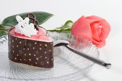 Raspberry souffle cake Royalty Free Stock Photo