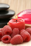 Raspberry spa. Raspberry glycerine soap and some fresh fruits Stock Photo