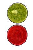 Raspberry and spinach smoothies  isolated Royalty Free Stock Photo