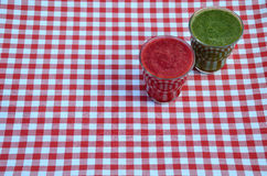 Raspberry and spinach smoothies Stock Photo