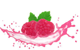 Raspberry splaash. Raspbery with leaves and splash isolated on white Stock Photo