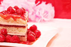 Raspberry sponge cake Royalty Free Stock Images