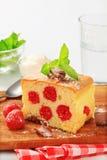 Raspberry sponge cake slice Royalty Free Stock Images