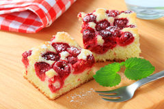 Raspberry sponge cake slices Stock Images