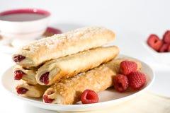 Raspberry Sticks Pastry On White Plate Stock Photo