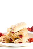 Raspberry Sticks Pastry On White Plate Stock Photography