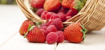 Raspberry and strawberries in a basket on the table in garden. Raspberry and strawberries in a basket on the table in the garden royalty free stock photo