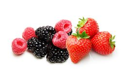 Raspberry, Strawberry, Blackberry  Isolated Stock Photography
