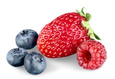 Raspberry, Strawberry and Blueberry Isolated on. Fresh ripe berries healthy lifestyle low calorie natural food low fat Stock Photo