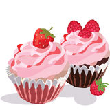 Raspberry and Strawberry cupcakes Royalty Free Stock Photo