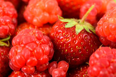 Raspberry And Strawberry Pile Stock Images