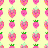 Raspberry strawberry seamless vector pattern Stock Photos