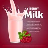 Raspberry sweet milkshake dessert cocktail Royalty Free Stock Photography