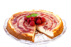 Raspberry swirl cheesecake Stock Photography