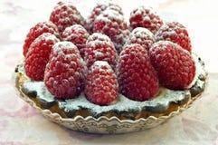 Raspberry tart. Fresh raspberry tart closeup with selective focus Stock Image