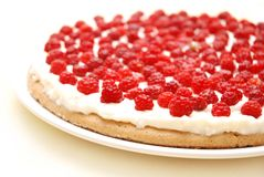 Raspberry tart. Appetizing raspberry tart on white plate Stock Photography
