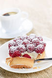 Raspberry tart with coffee Royalty Free Stock Photography