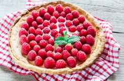 Raspberry tart with custard Royalty Free Stock Photography