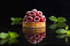 Raspberry tart dessert on dark background. Traditional french sweet pastry. Delicious, appetizing, homemade cake with Stock Photography