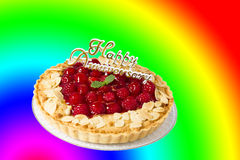 Raspberry tart. With Happy Anniversary Royalty Free Stock Photos