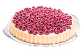 Raspberry Tart isolated on white. Raspberry Tart on a plate isolated on white background Stock Photo