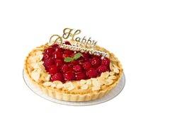 Raspberry tart. Isolated on white background Stock Image