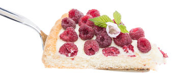 Raspberry Tart on lifter against white Royalty Free Stock Photography
