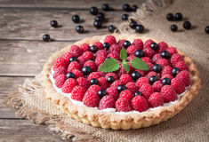 Raspberry tart pie with whipped cream, blackberry Stock Images