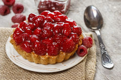 Raspberry tart. Selective focus Royalty Free Stock Photos