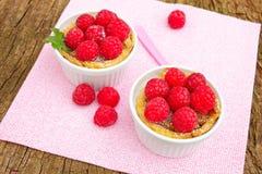 Raspberry tart. Two fresh raspberry tart on a pink napkin Royalty Free Stock Photography