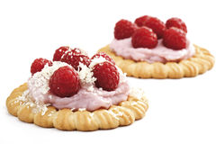 Raspberry tartlets, close-up Royalty Free Stock Photography